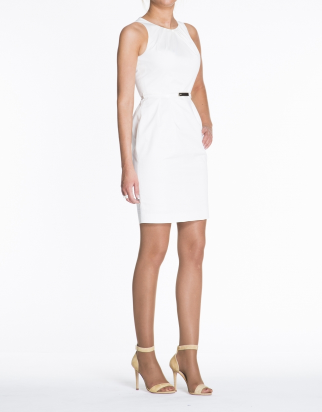 Off white cotton sleeveless dress with puckered neckline