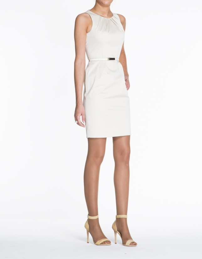 Sand-colored cotton sleeveless dress with puckered and back button