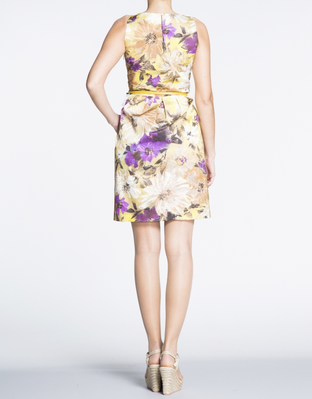 Floral print pleated dress with slits