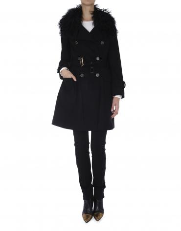 Black wool raincoat with lambskin collar