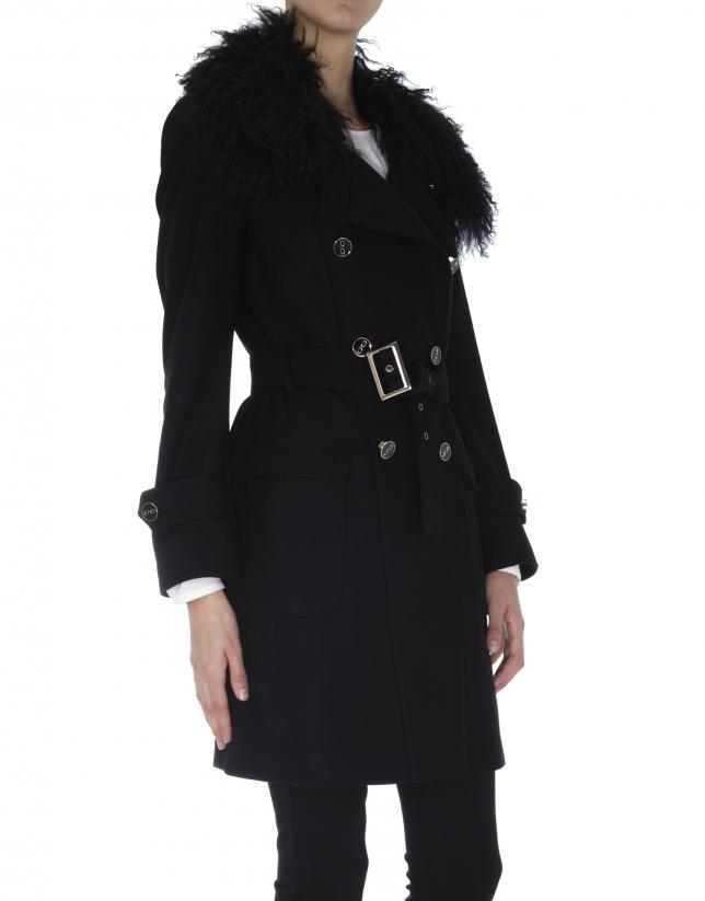 Gabardine noire en laine, col peau de brebis