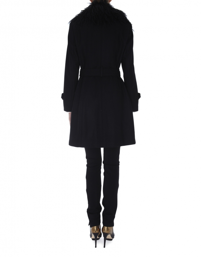 Black wool raincoat with lambskin collar