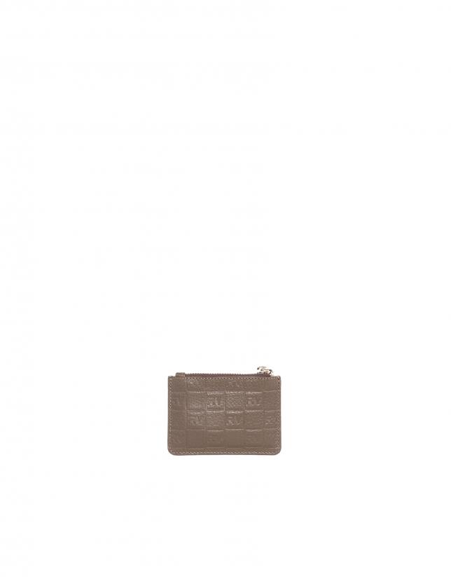 Porte -monnaie en cuir vachette, couleur tabac.