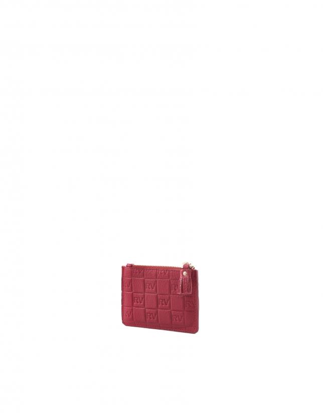 Porte -monnaie en cuir vachette, gravé RV