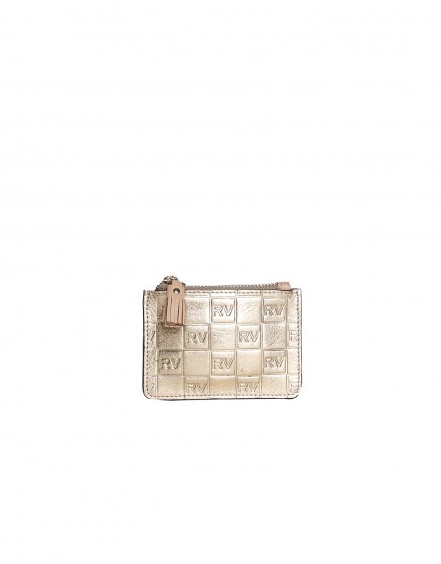 Gold cowhide coin purse