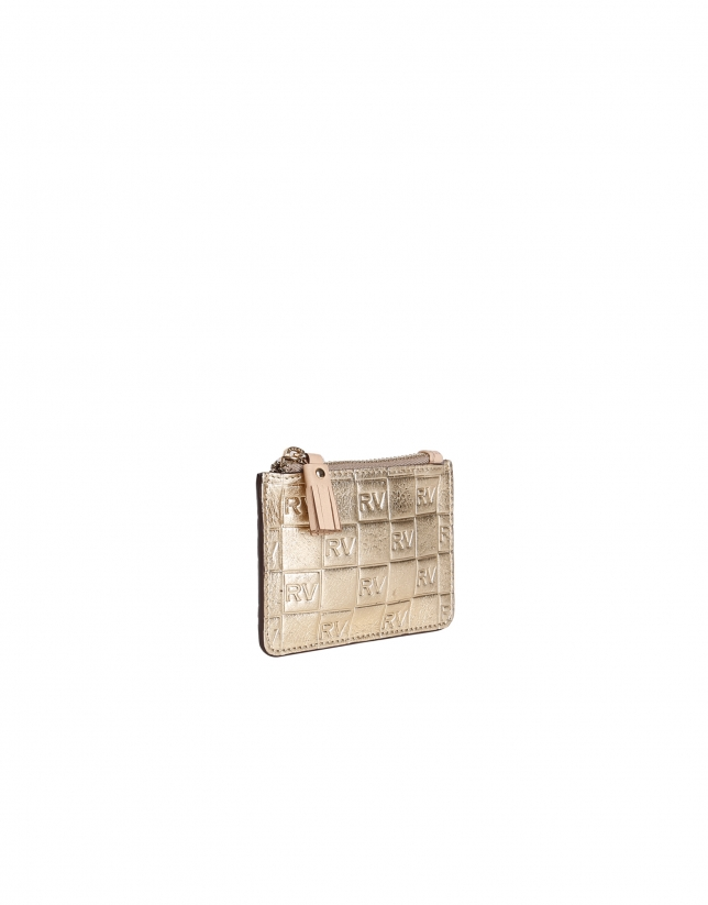 Gold cowhide coin purse