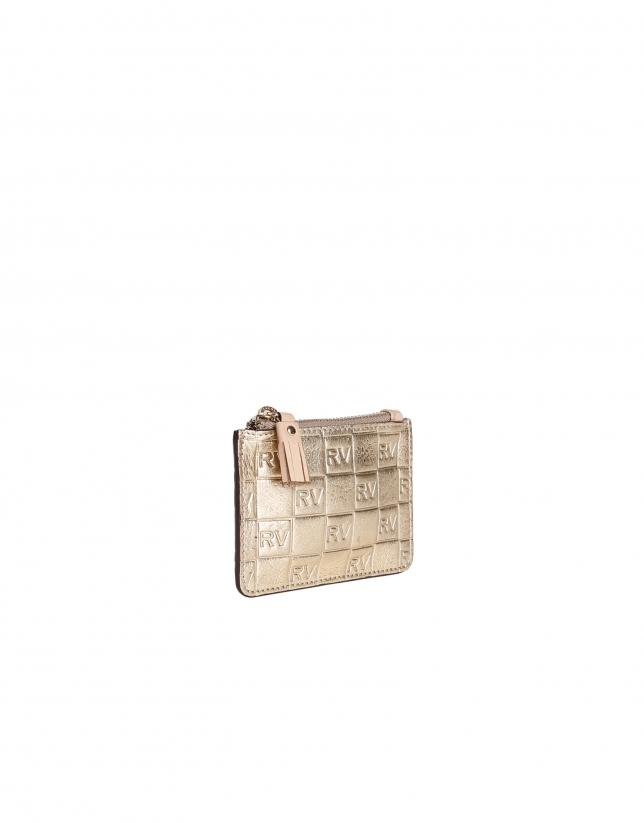 Porte-monnaie doré en cuir vachette
