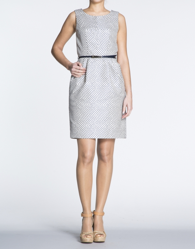 Blue dot dress with slits