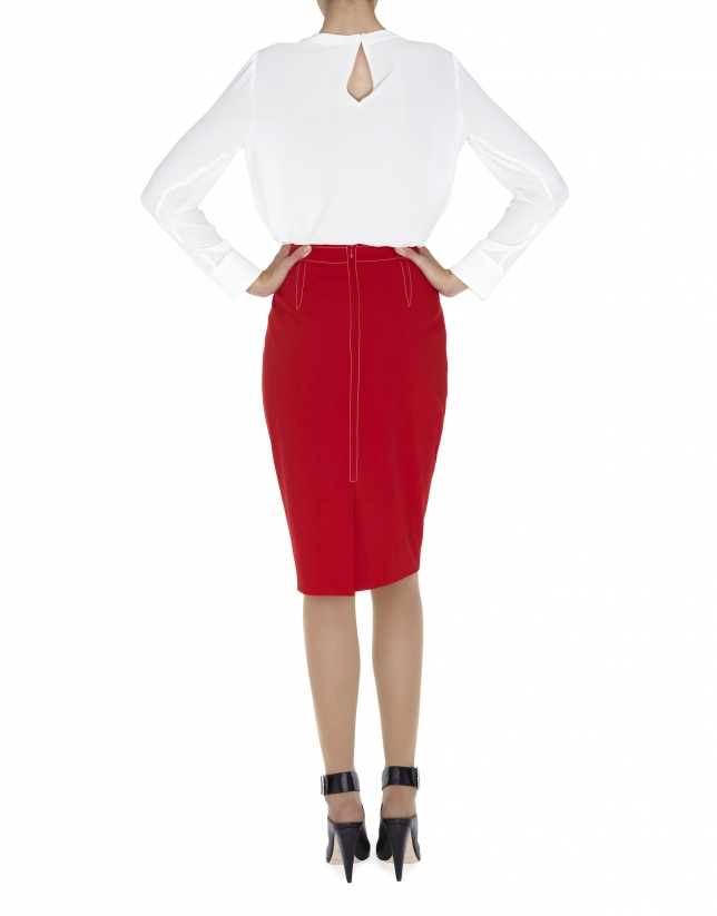 Off white blouse with pleated neckline