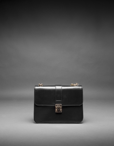 Stiff black leather Norman bag with clasp