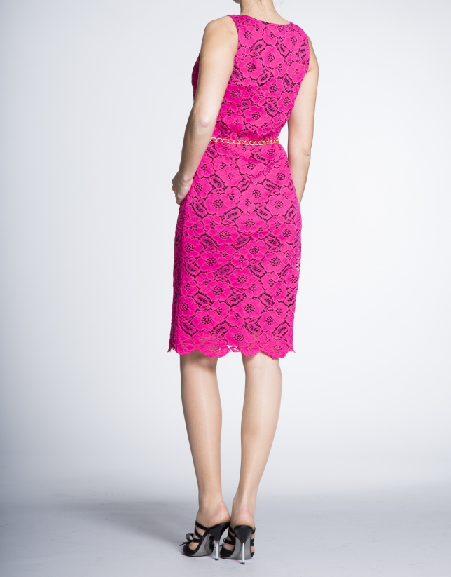 Pink lace over black straight dress