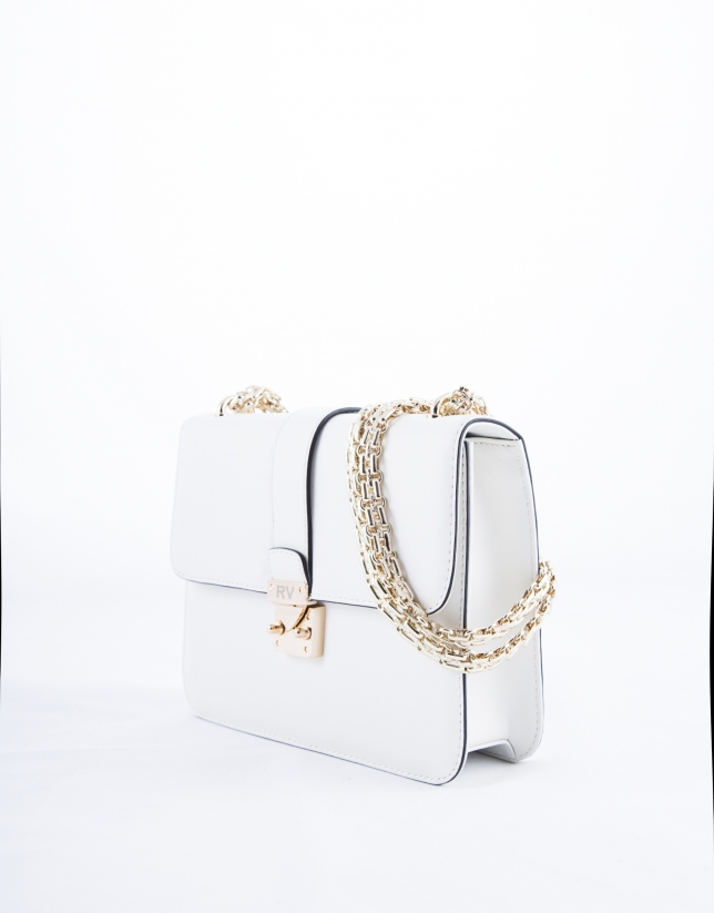 Stiff white leather Norman bag