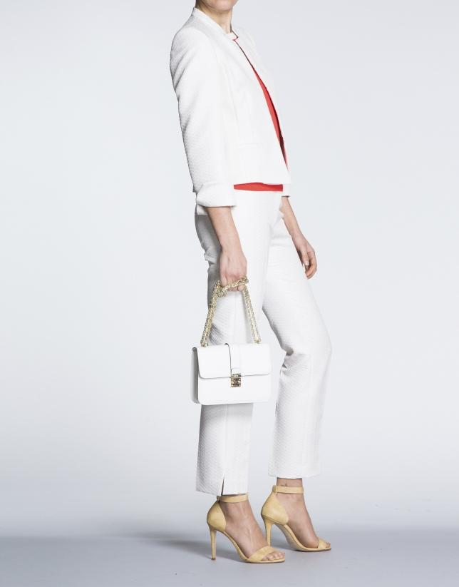 Stiff white leather Norman bag