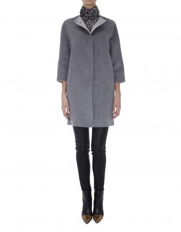 Abrigo cierre 1 botón de lana y angora doble faz gris