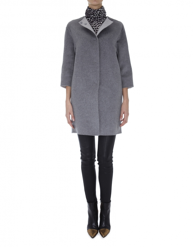 Gray wool and angora double faced coat