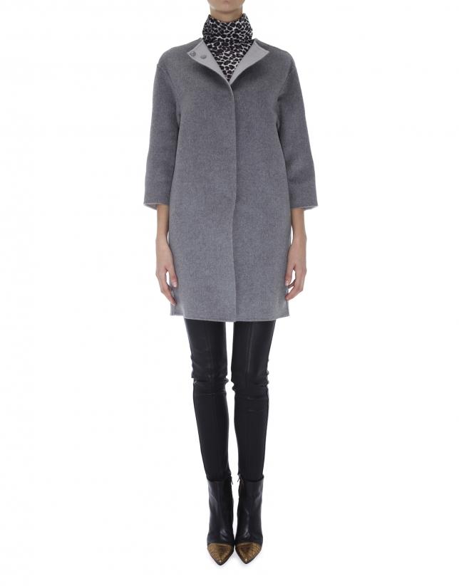 Manteau en laine et angora, double face gris