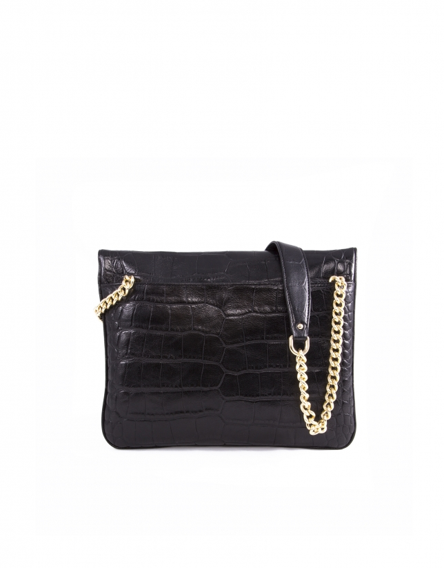 Bolso Messenger Miranda For Ever piel negra brillo