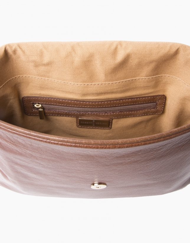 Brown buffalo leather courier bag