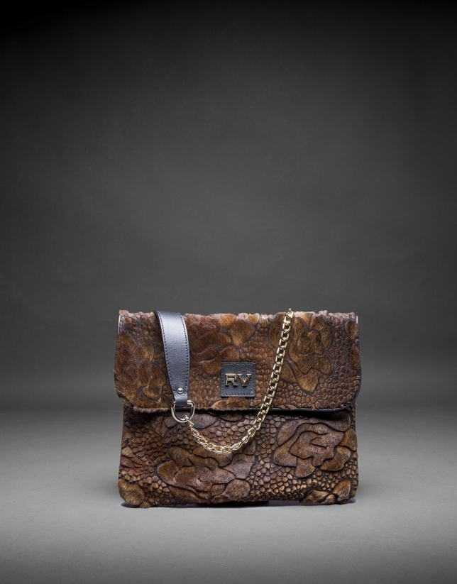 Black napa Miranda Soft  bag with embossed toast fantasy fur flower