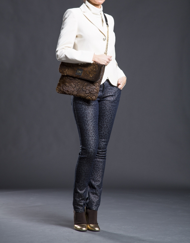 Messenger Miranda Soft cuir nappa noir et fourrure frappée fantaisie fleur aux tons ambrés