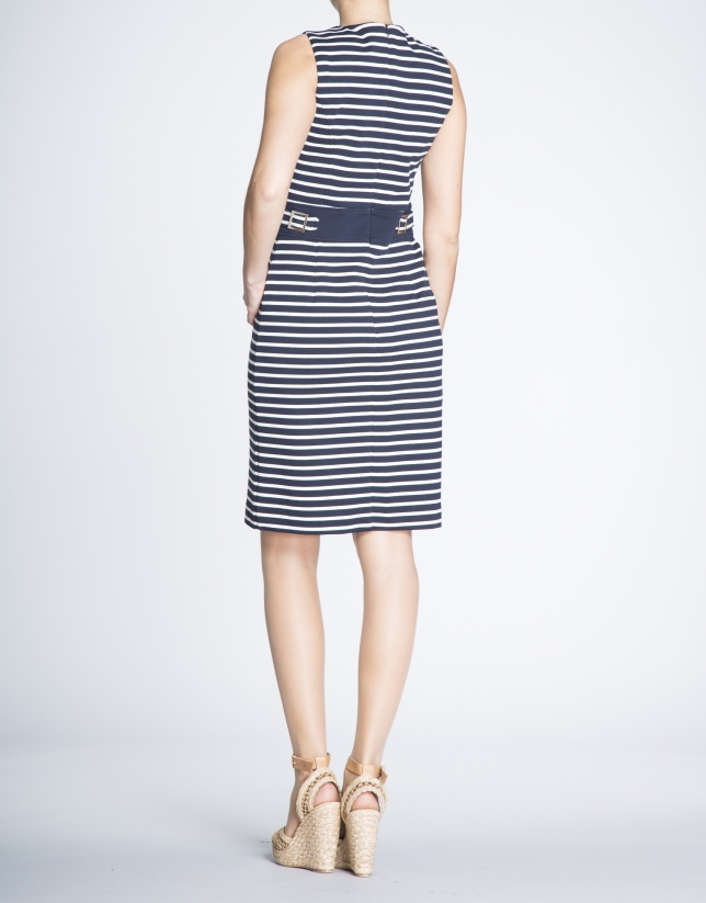 Fitted knit sailor dress