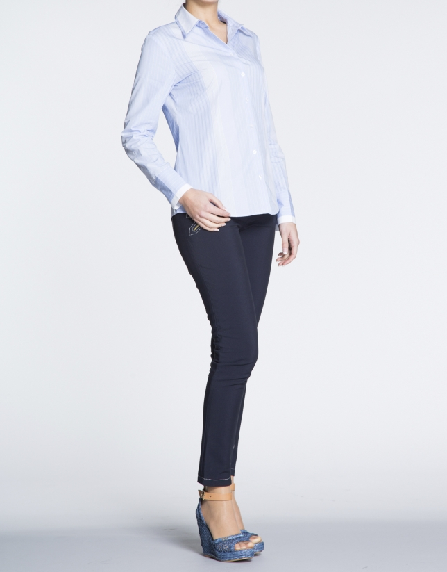 Blue and white striped long sleeve cotton shirt