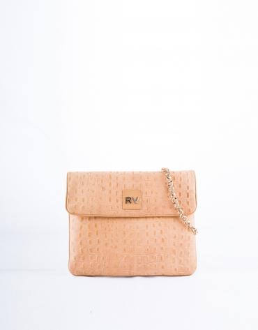 Nobuck leather and embossed alligator Miranda Safari messenger bag