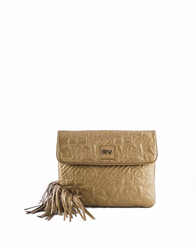 Bronze leather  Miranda VIP messenger bag with fringe