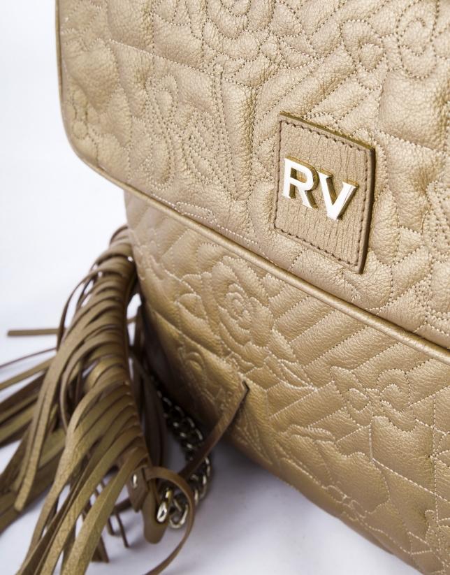 Bronze leather  Miranda VIP messenger bag with fringe