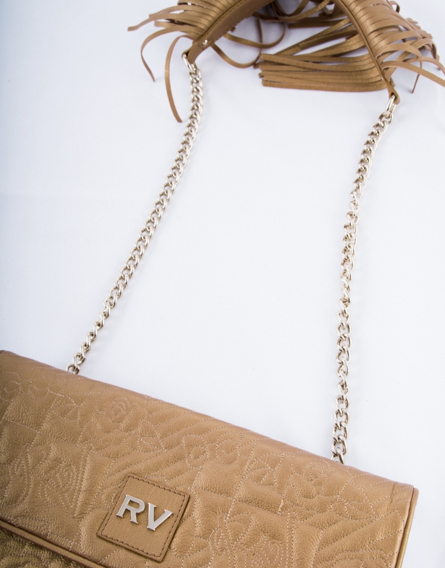 Miranda Vip : messenger en cuir vachette à franges, couleur bronze