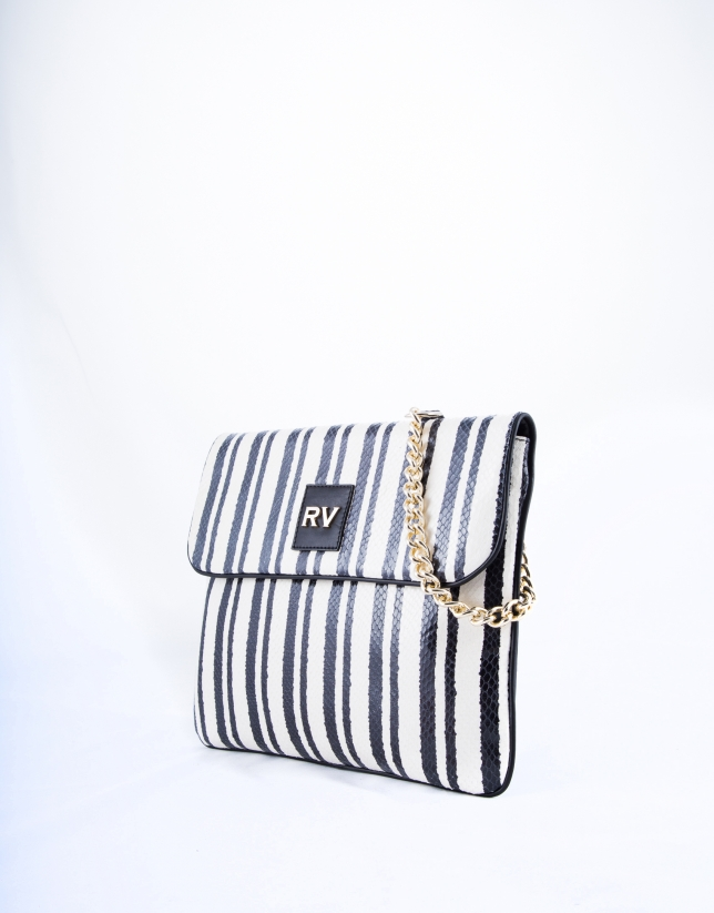 Black and white striped leather Miranda Bahía messenger bag