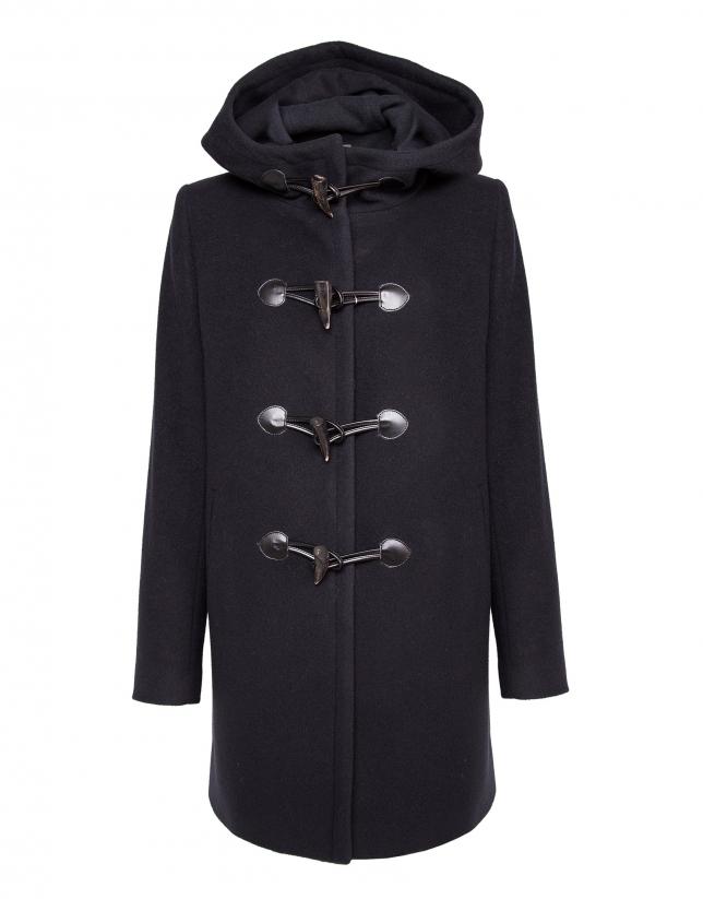 Duffle-coat bleu marine avec capuche