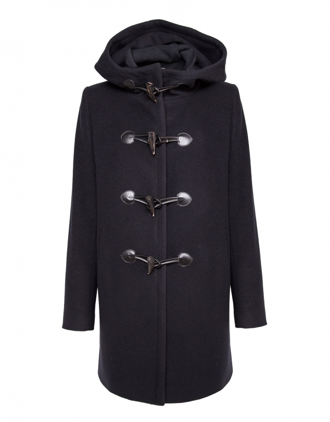 Navy blue trench coat with hood
