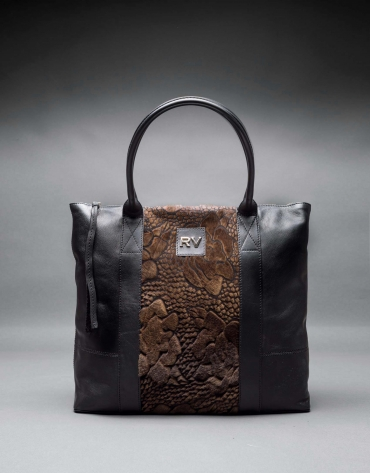 Black napa Orlando Soft bag with embossed brown fantasy fur flower
