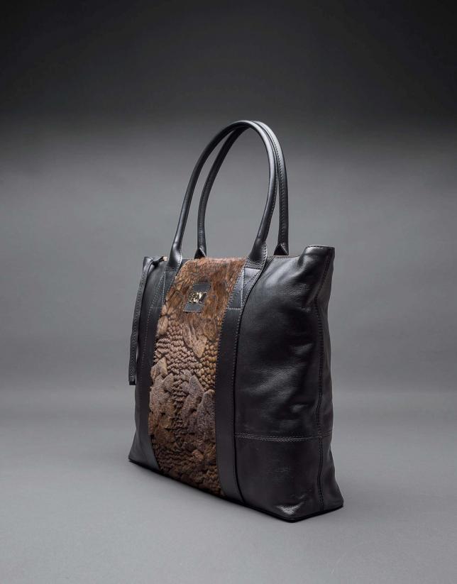 Black napa Orlando Soft bag with embossed brown fantasy fur flower