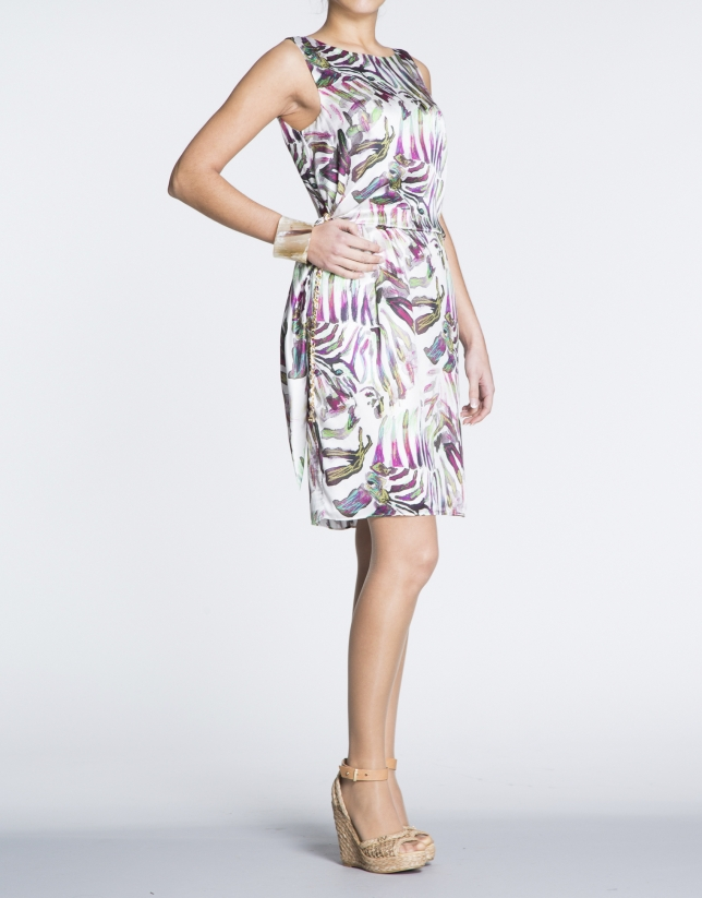 Silk dress with puckered waist