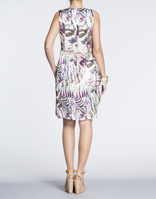 Silk dress with puckered waist