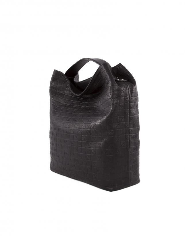 Bolso Tote Albert negro piel grabado RV