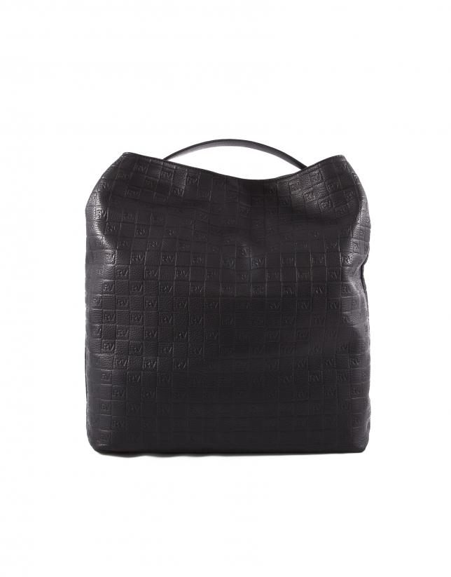 Albert black leather bag with RV logo