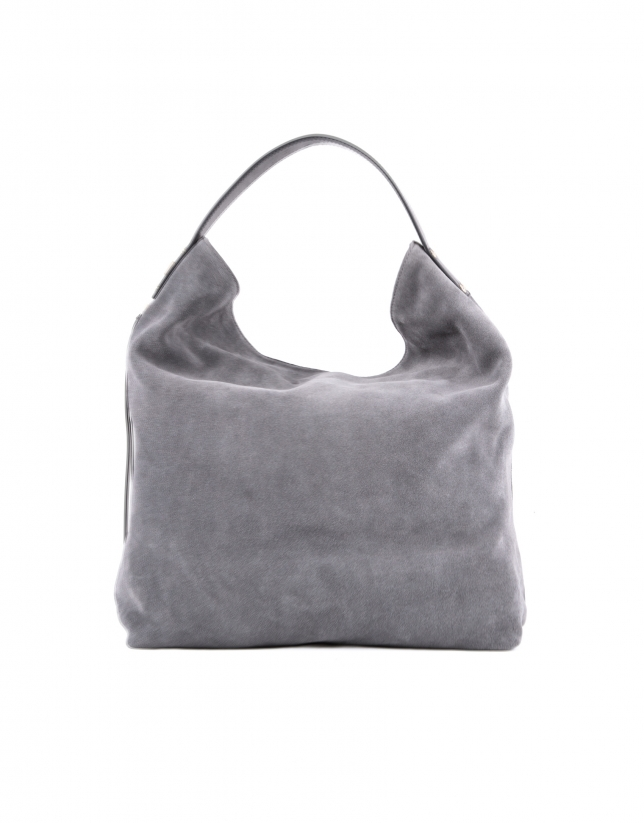 Albert Zipper gray split leather bag.