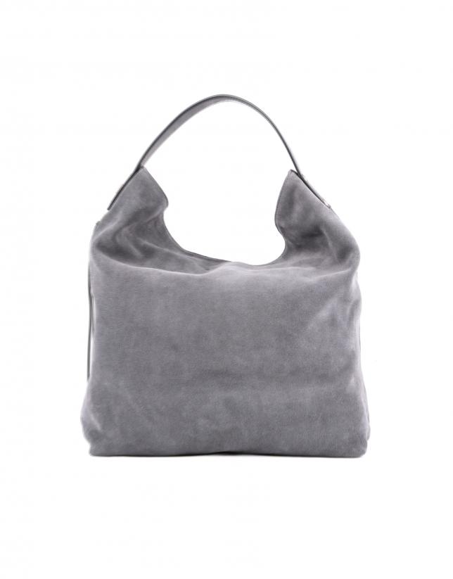 Albert Zipper gray split leather bag.