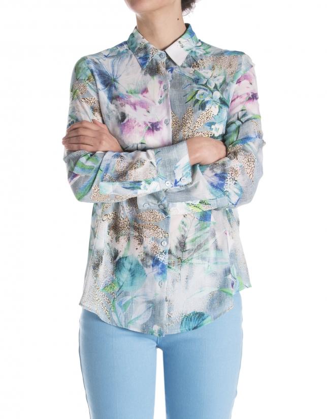 Chemise motif fantaisie à manches longues