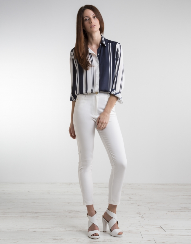 Blue/white straight shirt