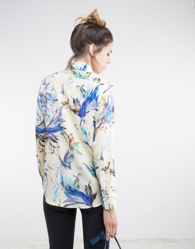 Camisa estampado flores azules