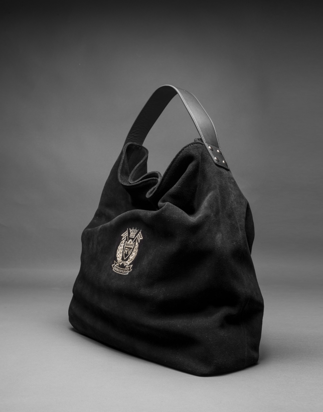 Black suede Albert bag with RV shield embroidered in light gold lurex