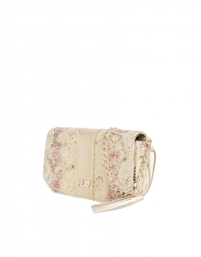 Print canvas shoulder bag