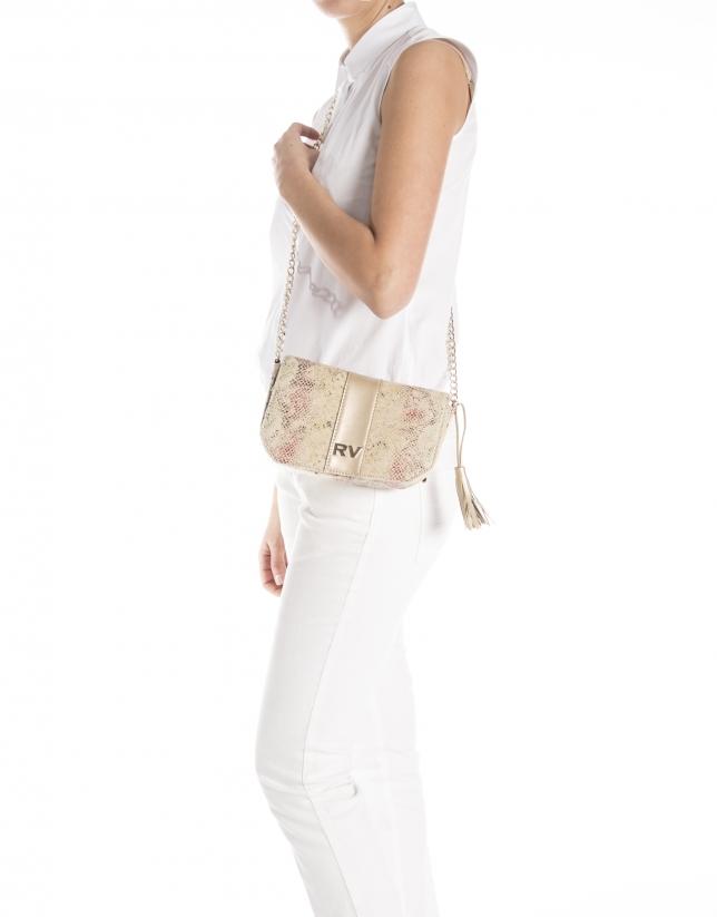 Print canvas shoulder bag