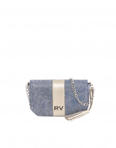 Blue canvas shoulder bag