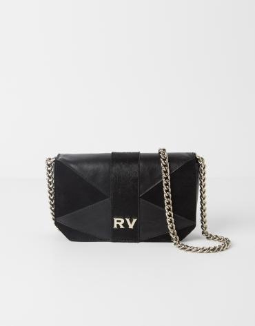 Patchwork leather shoulder bag