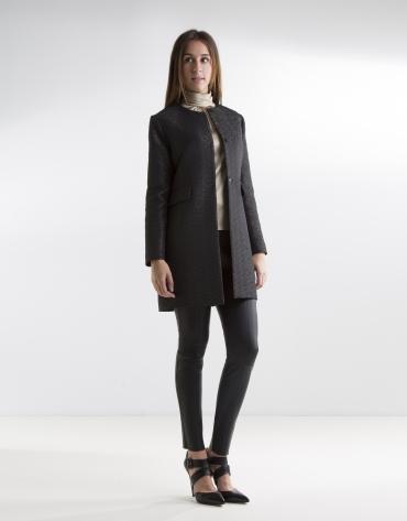 Black jacquard coat
